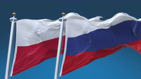tédio : 4k Seamless Poland and Russia Flags with blue sky background,A fully digital rendering,The animation loops at 20 seconds,POL PL RUS RU.