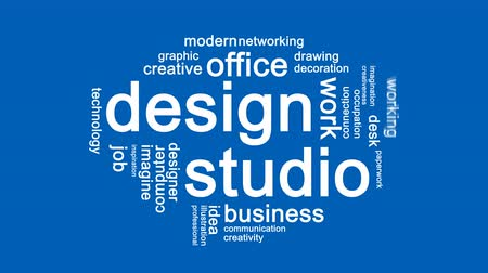 papeleria : Design Studio Animated Word Cloud, Animación de diseño de texto.