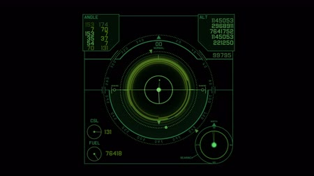 kehren : 4k Radar GPS-Signaltechnologie-Bildschirmanzeige, Zukunfts-Science-Sciencefiction-Datencomputerspielnavigations-Dashboard HUD-Technologieschnittstellenhintergrund.