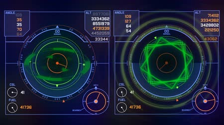 излучение : 4k Radar GPS signal tech screen display,future science sci-fi data computer game navigation dashboard HUD technology interface background.