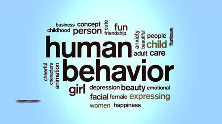Human Behavior Animated Tag Word Cloud,Text Design Animation. Stock Footage