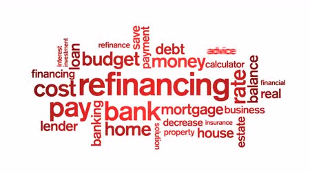 financiering : 4k Herfinanciering van geanimeerde tag Word Cloud, tekstontwerpanimatie.