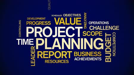 4k Project Planning Animated Tag Word Cloud,Text Design Animation. Stock Footage