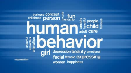 öfkeli : Human Behavior Animated Word Cloud,Text Design Animation. Stok Video