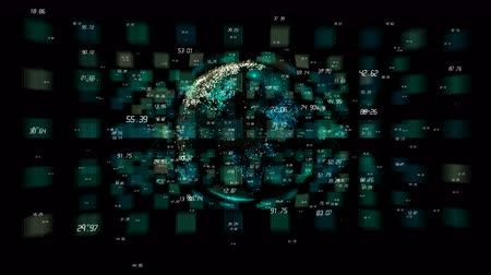 ganhos : 4k digital data globe,a scientific tech data network surrounding planet earth conveying connectivity,complexity and data flood of digital age.Business Data wall,Financial figures.network numbers.