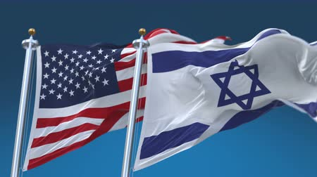 tédio : 4k Seamless United States of America And Israel Flags with blue sky background,A fully digital rendering,The flag 3D animation loops at 20 seconds,USA US ISR IL.