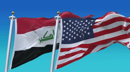 tédio : 4k Seamless United States of America And Iraq Flags with blue sky background,A fully digital rendering,The flag 3D animation loops at 20 seconds,USA US IRQ IQ.