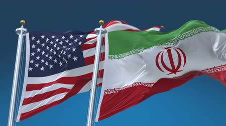 tédio : 4k Seamless United States of America And Iran Flags with blue sky background,A fully digital rendering,The flag 3D animation loops at 20 seconds,USA US IRI IR.