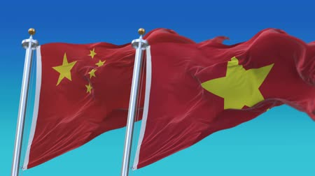 yumuşaklık : 4k Seamless Vietnam and China Flags with blue sky background,A fully digital rendering,The animation loops at 20 seconds,VIE VN CHN CN.