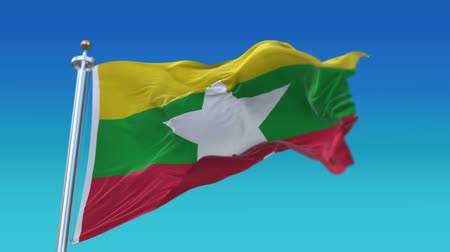 4k Seamless Myanmar flag with flagpole waving in wind,fully digital rendering,The animation loops at 20 seconds,flag 3D animation.