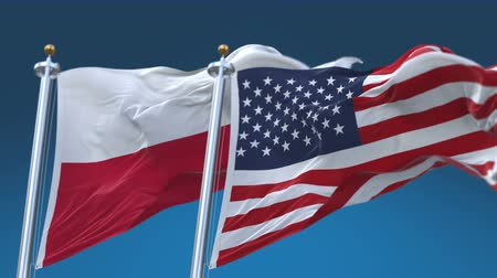 4k Seamless United States of America And Poland Flags with blue sky background,A fully digital rendering,The flag 3D animation loops at 20 seconds,USA US POL PL.