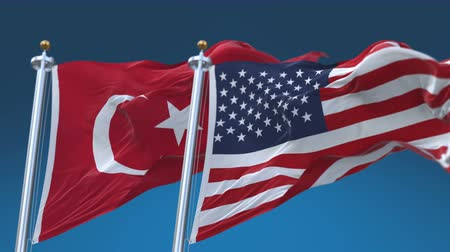 4k Seamless United States of America And Turkey Flags with blue sky background,A fully digital rendering,The flag 3D animation loops at 20 seconds,USA US TUR TR.