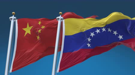 4k Seamless Venezuela and China Flags with blue sky background,A fully digital rendering,The animation loops at 20 seconds,VEN VE CHN CN.