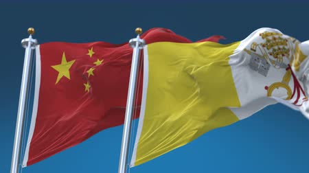 4k Seamless Vatican and China Flags with blue sky background,A fully digital rendering,The animation loops at 20 seconds,VAT CHN CN.