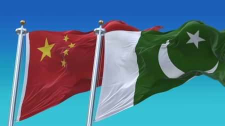 4k Seamless Pakistan and China Flags with blue sky background,A fully digital rendering,The animation loops at 20 seconds,PAK PK CHN CN.