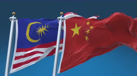 4k Seamless Malaysia and China Flags with blue sky background,A fully digital rendering,The animation loops at 20 seconds,MGL MY CN CHN.