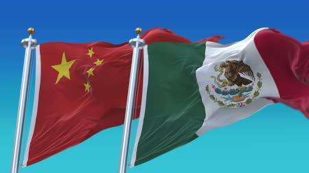 секунды : 4k Seamless Mexico and China Flags with blue sky background,A fully digital rendering,The animation loops at 20 seconds,MEX MX CHN CN.