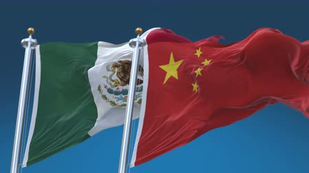 4k Seamless Mexico and China Flags with blue sky background,A fully digital rendering,The animation loops at 20 seconds,MEX MX CHN CN.