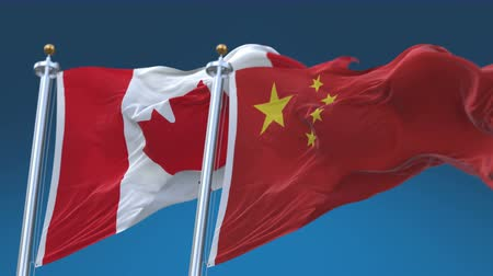 4k Seamless Canada and China Flags with blue sky background,A fully digital rendering,The animation loops at 20 seconds,CAN CA CHN CN.