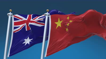 4k Seamless Australia and China Flags with blue sky background,A fully digital rendering,The animation loops at 20 seconds,AUS AU CHN CN.