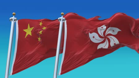 4k Seamless Hong Kong and China Flags with blue sky background,A fully digital rendering,The animation loops at 20 seconds,HK CHN CN.