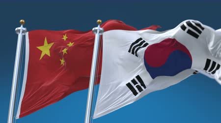 4k Seamless South Korea and China Flags with blue sky background,A fully digital rendering,The animation loops at 20 seconds,ROK CHN CN.