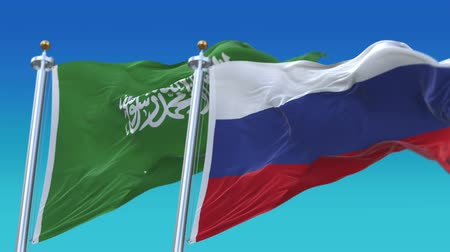 tédio : 4k Seamless Saudi Arabia and Russia Flags with blue sky background,A fully digital rendering,The animation loops at 20 seconds,KSA RUS.