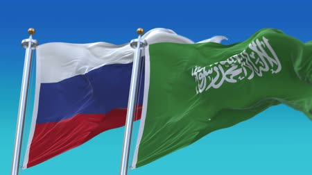 mastro de bandeira : 4k Seamless Saudi Arabia and Russia Flags with blue sky background,A fully digital rendering,The animation loops at 20 seconds,KSA RUS.