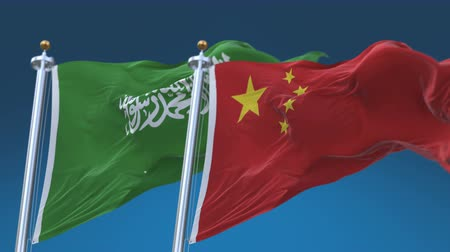 4k Seamless Saudi Arabia and China Flags with blue sky background,A fully digital rendering,The animation loops at 20 seconds,KSA CN.