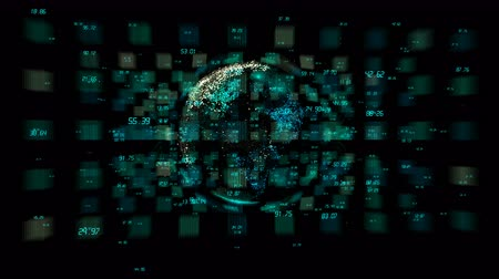complexidade : 4k digital data globe, a scientific tech data network surrounding planet earth conveying connectivity, complexity and data flood of digital age. Business Data wall, Financial figures.network numbers. Vídeos