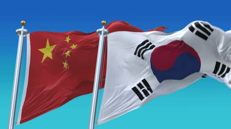 tédio : 4k Seamless South Korea and China Flags with blue sky background,A fully digital rendering,The animation loops at 20 seconds