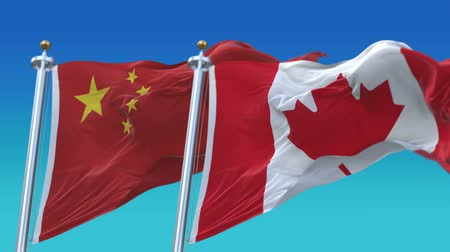 symbolic : 4k Seamless Canada and China Flags with blue sky background, A fully digital rendering, The animation loops at 20 seconds .