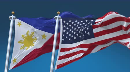 tédio : 4k Seamless United States of America And Philippines Flags with blue sky background,A fully digital rendering,The flag 3D animation loops at 20 seconds