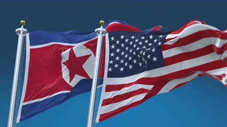 tédio : 4k Seamless United States of America And North Korea Flags with blue sky background,A fully digital rendering,The flag 3D animation loops at 20 seconds Stock Footage