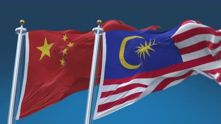 gurur : 4k Seamless Malaysia and China Flags with blue sky background, A fully digital rendering, The animation loops at 20 seconds