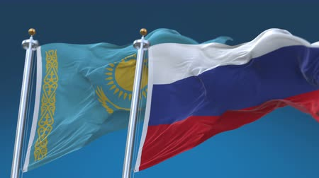tédio : 4k Seamless Kazakhstan and Russia Flags with blue sky background,A fully digital rendering,The animation loops at 20 seconds