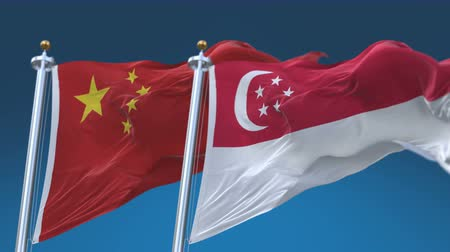 tédio : 4k Seamless Singapore and China Flags with blue sky background, A fully digital rendering, The animation loops at 20 seconds Stock Footage