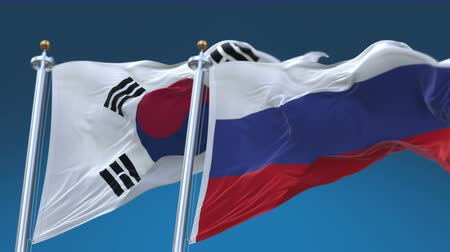 секунды : 4k Seamless Republic of Korea and Russia Flags with blue sky background,A fully digital rendering,The animation loops at 20 seconds