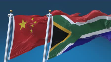 tédio : 4k Seamless South Africa and China Flags with blue sky background, A fully digital rendering, The animation loops at 20 seconds