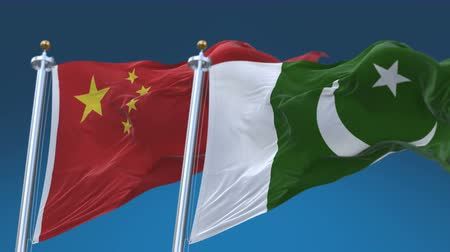 tédio : 4k Seamless Pakistan and China Flags with blue sky background, A fully digital rendering, The animation loops at 20 seconds