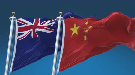 nzl : 4k Seamless New Zealand and China Flags with blue sky background, A fully digital rendering, The animation loops at 20 seconds