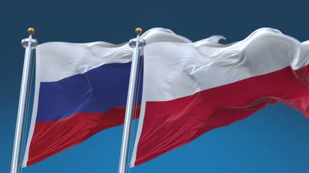 tédio : 4k Seamless Poland and Russia Flags with blue sky background,A fully digital rendering,The animation loops at 20 seconds