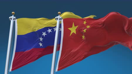 tédio : 4k Seamless Venezuela and China Flags with blue sky background,A fully digital rendering,The animation loops at 20 seconds