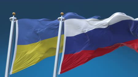 секунды : 4k Seamless Ukraine and Russia Flags with blue sky background, A fully digital rendering, The animation loops at 20 seconds