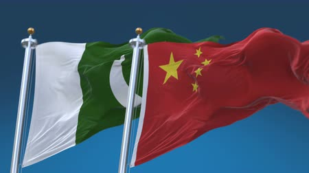 секунды : 4k Seamless Pakistan and China Flags with blue sky background, A fully digital rendering, The animation loops at 20 seconds
