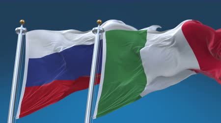 tédio : 4k Seamless Italy and Russia Flags with blue sky background,A fully digital rendering,The animation loops at 20 seconds