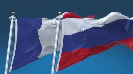 tédio : 4k Seamless France and Russia Flags with blue sky background,A fully digital rendering,The animation loops at 20 seconds