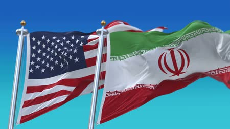 tédio : 4k Seamless United States of America And Iran Flags with blue sky background,A fully digital rendering,The flag 3D animation loops at 20 seconds