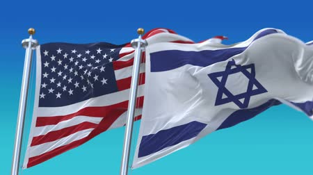 marş : 4k Seamless United States of America And Israel Flags with blue sky background,A fully digital rendering,The flag 3D animation loops at 20 seconds Stok Video