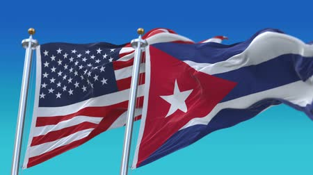 tédio : 4k Seamless United States of America And Cuba Flags with blue sky background,A fully digital rendering,The flag 3D animation loops at 20 seconds